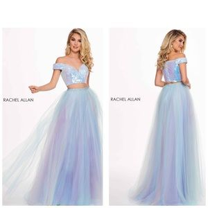 Rachel Allan formal white iridescent